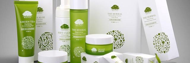 柏束天然有机护肤品瓶型外包装设计案例